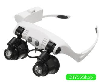 High Quality Magnifier 10X 15X 20X 25X LED Double Eye Glasses Loupe Len Jeweler Watch Repair Measurement with 8 Lens