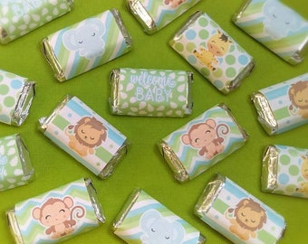 Jungle Baby Boy Miniature Candy Bar Wrappers