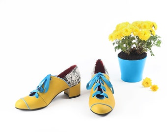 Yellow pumps shoes, Women's leather pumps, Yellow leather pumps shoes, Yellow and blue women pumps, Low heels shoes, Yellow modern shoes