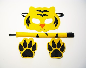 Tiger mask tail paws set for kids adults Yellow Black felt handmade forest zoo animal costume Dress up play Theatre roleplay Photo props