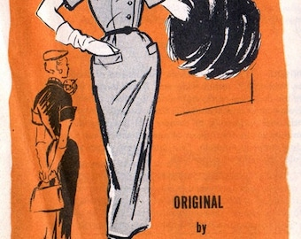 Prominent Designer A547 Hot to Trot Della Street Wiggle Dress & Scarf / ca. 1950's / SZ16 Factory Folds