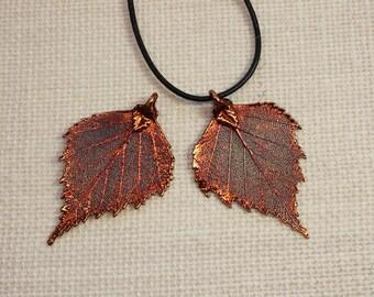 SALE Leaf Necklace, Birch Leaf, Copper Leaf, Real Leaf Necklace, Copper Birch Leaf Pendant, Boho Necklace SALE141
