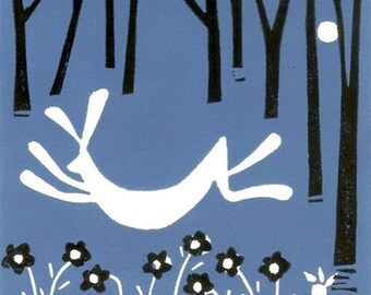 Hare Linocut- Rabbit Limited Edition Print Mounted - Hand Pulled - Blue and Black - Magical Forest,Original Print by Giuliana Lazzerini.