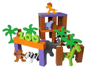 "Wooden  Toy Zoo -- ""My Very Own Zoo"" Child Safe, Handcrafted from Reclaimed Wood, Eco-friendly by GiggleTree Toys"