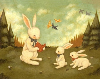 Children's Art - The Bunny's Tale Print 7x5 / 8x6 - Bunny Art, Book Art, Nursery, Baby, Bunny Decor, Cute, Book, Story, Reading, Forest