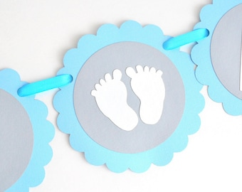 Elephant banner, handmade Baby Shower Banner, Elephant Baby Sower, Handmade Banner, baby blue, Grey and White  A465