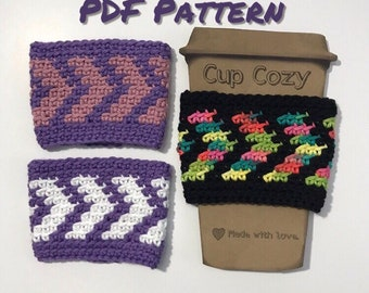 PDF Crochet Pattern/7 Arrows Cup Cozy/Coffee Sleeve/Chevron