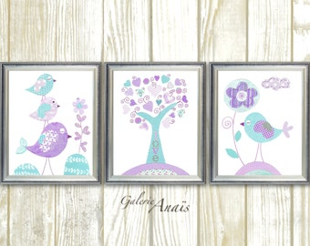 Aqua lavender purple nursery art Kids wall art baby nursery decor tree bird nursery baby girls room Decor Set of 3 Prints