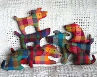 Little Softies - Dog Family set - EMAIL PDF sewing pattern, Scrap Savers, Stocking Stuffers, Holiday Ornaments, Baby safe