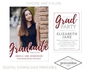 DIGITAL INVITATION custom Graduation Party Invitation and Announcement customizable PDF invite printable download