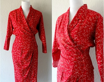 Vintage 80's Red and White Dress by Scarlett