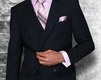 Mens ALBERTO NARDONI Double Breasted Fine Wool Suit Navy Blue Pleat Pants DB-1