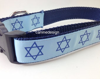 Dog Collar, Star of David, Passover, 1 inch wide, adjustable, quick release, metal buckle, chain, martingale, hybrid, heavy nylon