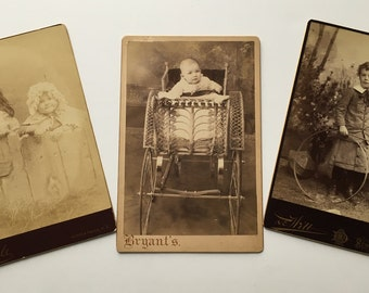 CABINET Card PHOTOGRAPHS 1880's / 1890's - Doll, Carriage, HOOP