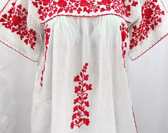 """Mexican Peasant Top Blouse Hand Embroidered: """"Lijera"""" White + Red Embroidery ~ Size MEDIUM"""