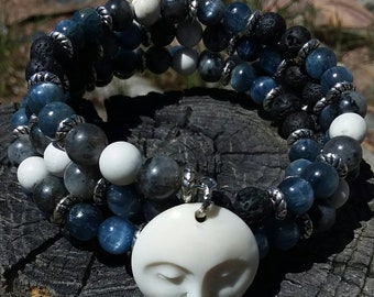 Gemstone Wrap Bracelet with Moon Face Charm