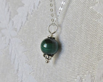 Sterling Silver Necklace with Malachite Bead Charm, SN-224