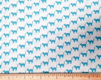 Turquoise Cat on White - Sevenberry fabric Fat Quarters 100% cotton quilting dressmaking UK Shop