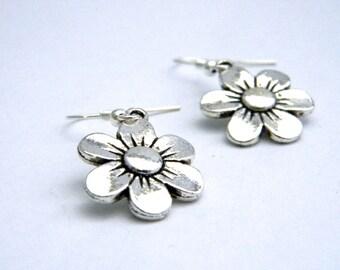 Daisy Flower Earrings Silver Color Dangle Earrings