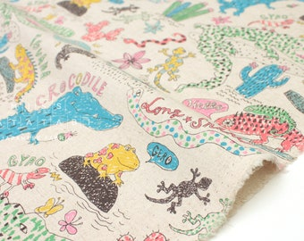 Japanese Fabric Kei Fabric Miyako Reptiles - natural - 50cm