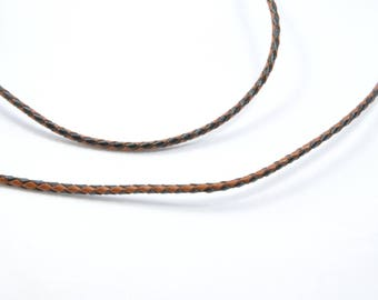 CO86 - 50 cm of black and brown leather cord braided