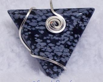 Snowflake Obsidian Triangle Pendant