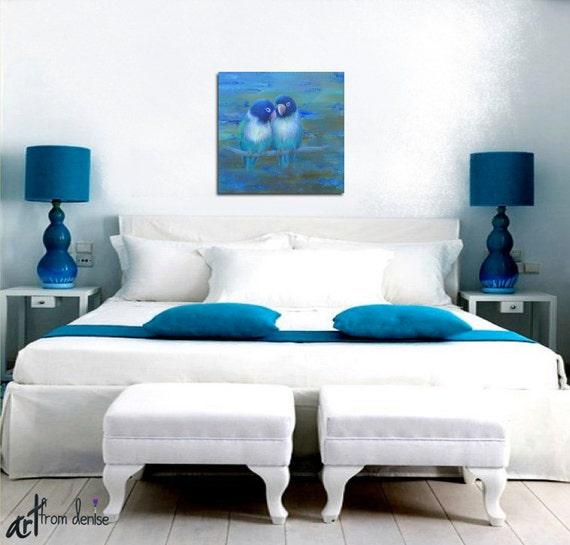 Teal Brown Bird Wall Art Canvas Print Lovebirds Turquoise