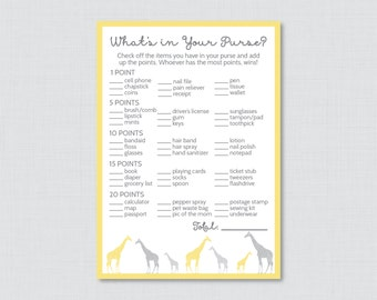 Giraffe Baby Shower What's in Your Purse Game - Printable Instant Download - Gender Neutral Baby Shower Game Yellow and Gray - 0011-Y