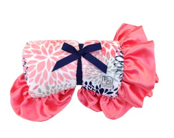 Coral Blooms Stroller Blanket Coral/Gray/Navy