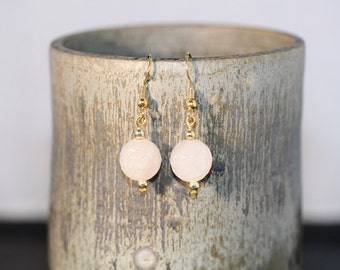 Rose Quartz Bead Earrings - Item 1199
