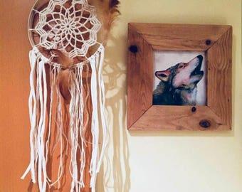 White Dreamcatcher on frame. Handmade Dreamcatcher