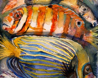 Fishes, Fish Print,  Watercolor Painting Ocean Fish, Gift Idea,  limited edition of 50 fine art giclee prints form my original watercolor