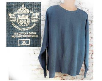 big and tall shirt men - vintage T Shirt men , men's long sleeve knit shirt - boyfriend T Shirt , Blue crew neck shirt -3 X large , # 224