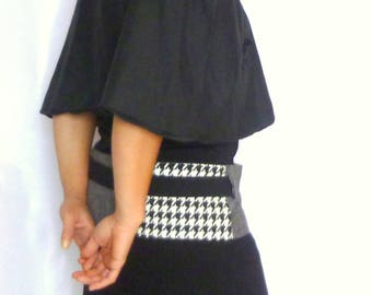 Cape woman Pilgrim houndstooth black white - lace - fall - winter cape - capelet - poncho - shawl