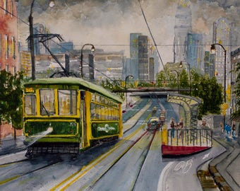 CHARLOTTE CITYSCAPE on Stretched CANVAS * Streetcar wall art * Modern Urban Landscape * North Carolina City