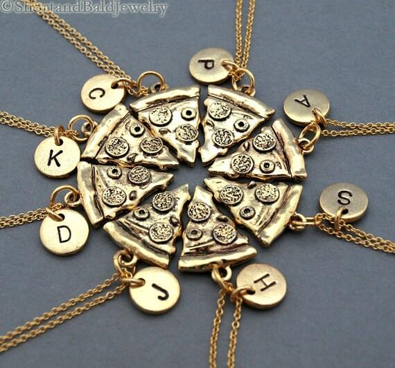 6 Pizza Slices Necklaces - Friendship Necklaces Kil5x