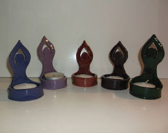 Wicca, Celebration, Moon Goddess T Lite Candle Holder, Handcrafted, Ceramic