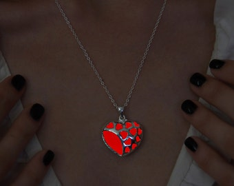 Red Heart of Hearts Glowing Necklace - Gift For Girl - Red Glowing Pendant - Glow Necklace - Glow in the Dark - Glowing Jewelry - Love Heart