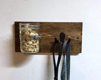 Dog leash holder, wall key rack, rustic key hook, wood dog leash hook, dog lover gift, dog leash hanger, dog treat jar, mason jar
