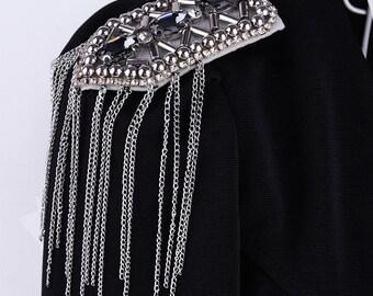 A pair crytal with Tassels Epaulets,DIY Craft Epaulets,Gold Studs Shoulder Pad,Shoulder Embellishment,Epaulets