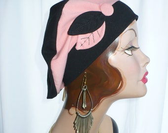 Peach and Black Cotton Jersey Beret, Chemo Hat
