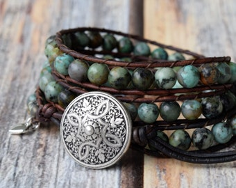 African Turquoise Leather Wrap Bracelet, Wrap Bracelet, Beaded Wrap Bracelet, Leather Wrap Bracelet, Wrap Bracelet Leather, Teal Green