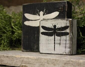 Dragonfly Blocks, Dragonfly Decor, Spring Summer Decor, Dragonfly Home Decor, Weathered Dragonfly Blocks