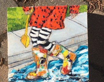 6x6 inch (1-5/8 inch sides) Original Acrylic Childhood Figurative Rain boots Painting on Birch - 'the yellow shovel'