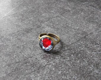 Rose ring, red rose ring, valentine's day, flower ring, red ring, love ring, adjustable ring, bronze ring, delicate ring, gift idea