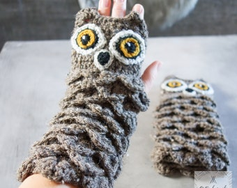 Crochet Owl gloves for women