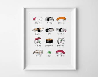 "Sushi Print - Japanese Food Illustration - Hand Printed - 8x10"" Silkscreen Print - Kawaii Sushi Art Print - Gift For Her - Things By Us"