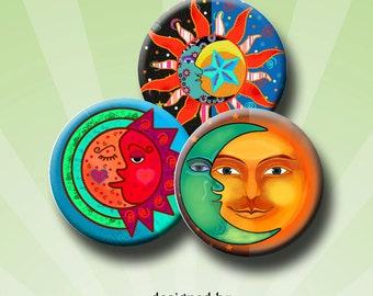 SUN AND MOON -  Digital Collage Sheet 1.313 inch round images for 1 inch buttons. Instant Download #220.