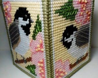 CHICKADEES & APPLE BLOSSOMS - Boutique Size Tissue Box Cover - Birds - Summertime - Home Decor