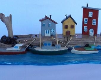 seaside village, port, boats, art house, driftwood, art of recycling, miniature, seaside landscape